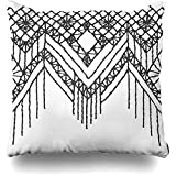 SRhui Funda de Almohada Tribal Brocado Patrón Floral Fringe Border Macrame Servilleta Chevron Crochet Diamond American Boho Cushion Case