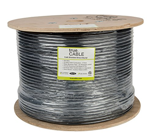 trueCABLE Cat6 Direct Burial, Shielded FTP, 500ft, Waterproof, Outdoor Rated CMX, Black, 23AWG Solid Bare Copper, 550MHz, ETL Listed, Bulk Ethernet Cable