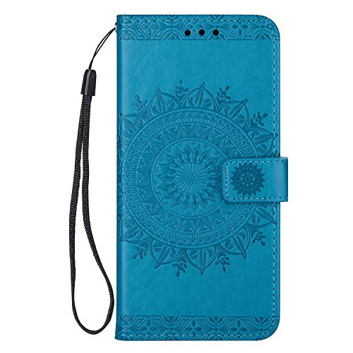 Leather Flip Case Fit for Samsung Galaxy S10e, Card Holders Extra-Shockproof Kickstand Blue Wallet Cover for Samsung Galaxy S10e