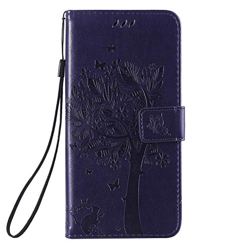 Miagon für Xiaomi Mi Note 10 Geldbörse Wallet Case,PU Leder Baum Katze Schmetterling Flip Cover Klapphülle Tasche Schutzhülle mit Magnet Handschlaufe Strap
