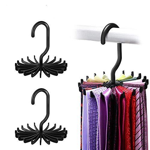 LKY Krawattenhalter Kleiderbügel Haken Kleiderschrank Organizer 360 Grad drehbar verstellbar 20 Haken schwarz, 2Packs