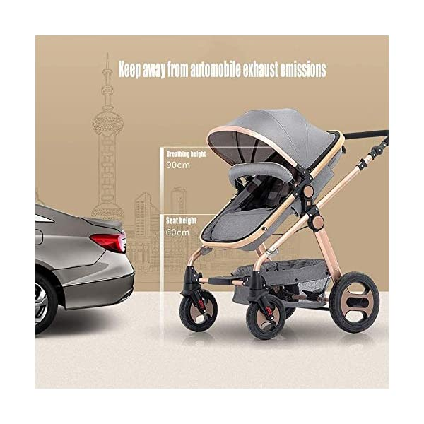 LAMTON Stroller is Suitable for Newborns, can sit and Recline Fast Folding Four Seasons Baby Stroller Suitable for Newborns to Send 6 Gifts, Suitable for 0-36 Months Baby,Blue (Color : Purple) LAMTON The stroller frame is made of stainless steel to make the stroller stronger. The stroller awning is made of linen and is very breathable. Stroller configuration: equipped with five-point seat belt, detachable armrest, adjustable push rod height, bottom enlarged basket The front wheel design of the stroller can be rotated 360°, the built-in spring shockproof, strong shockproof, adapt to all kinds of bumpy roads, make the baby more comfortable 5