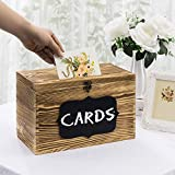 MyGift Rustic Brown Wood Wedding Card Gift Box with Slotted Lid, Lock & Chalkboard Label