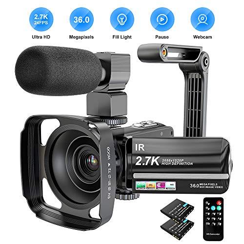 Videocamera 2.7K Camcorder 36 MP UHD WiFi Digital Camcorder 16X Digital Zoom IR visione notturna 3 pollici IPS Touch Screen Video Camcorder con microfono, paraluce e supporto per fotocamera