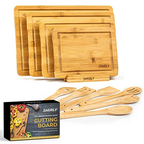 Smirly Bamboo Cutting Board for Kitchen: Set of 4 Butcher Block Wood Cutting Boards with Holder & 6 Cooking Utensils