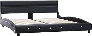 Festnight Cadre de Lit Adulte   Sommier à Lattes   Cadre de lit avec LED Noir Similicuir 160 x 200 cm