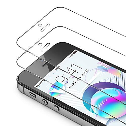 Bewahly Vetro Temperato iPhone SE / 5S / 5 / 5C [3 Pezzi],Copertura Completa Pellicola Protettiva in Vetro Temperato per iPhone SE / 5S / 5 / 5C [9H Durezza, Alta Definizione, Trasparente]