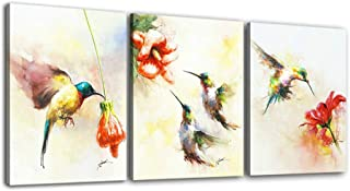 Hongwu Canvas Prints Hummingbird Painting Modern Wall Art Flower Bird Picture on Canvas Stretched Ready to Hang for Home Decoration 12x16inchx3panels