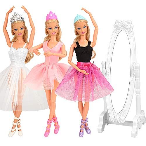 Festfun - Set di 10 vestiti e accessori per balletto per bambola/ragazza, 3 abiti da balletto + 3 scarpe da balletto + 3 corone + 1 specchio