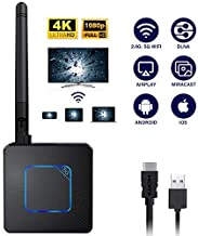 WiFi Display Dongle, SAMMIX 5G/2.4G Wireless HDMI Display Receiver Adapter, 1080P 4K Ultra HD Screen Mirroring Support Airplay DLNA Miracast for Android iOS Phone Tablet PC to TV Monitor Projector