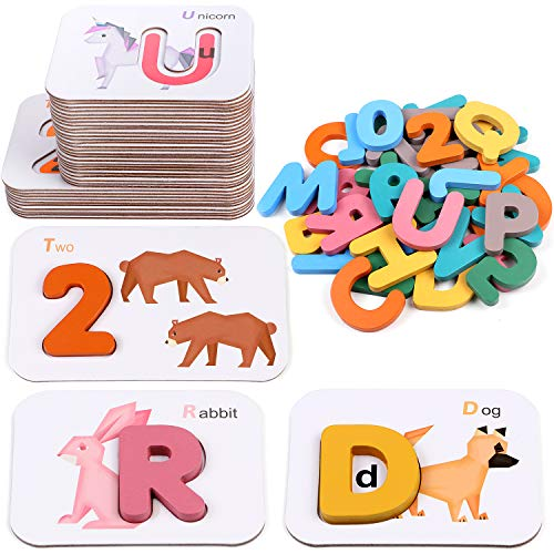 Lewo Alphabet and Numbers Flash Cards ABC Wooden Letters Numbers Jigsaw Puzzles Matching Game Preschool Educational Learning Toys Gifts for 3 4 5 6 Years Old Toddlers Baby Kids Boys Girls