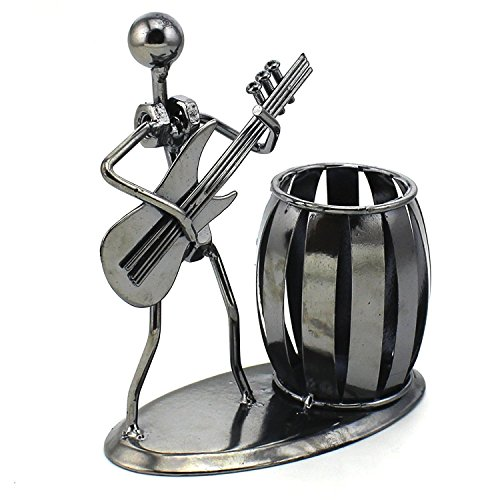 Zicome Recycled Metal Art Hand-made Pen Holder with a Guitarist Figure Playing Music - Decorative Desk Organizer Office Space Supply Multipurpose Pen Pencil Holder - A Creative and Amazing Desktop Decor