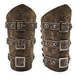 HiiFeuer Medieval PU Leather Buckle Arm Bracers, Knight LARP Retro Renaissance Arm Guards, One Size One Pair (Bronze)