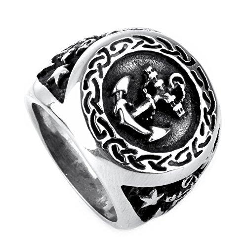 copaul joyas acero inoxidable retro ancla segeln Hombre Anillo, Color negro plata, tallas 54(17.2)–70(22.3)