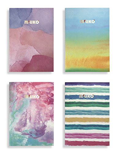 Miliko A5 Watercolor Series Softcover Notebooks/Journals/Diary Set-8.27 Inches x 5.67 Inches-4 Unique designed Notebooks Per Pack