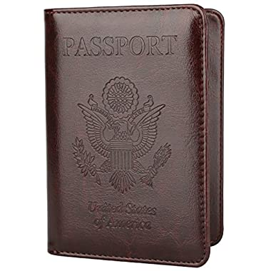 GDTK Leather Passport Holder Cover RFID Blocking Travel Wallet (Coffee)
