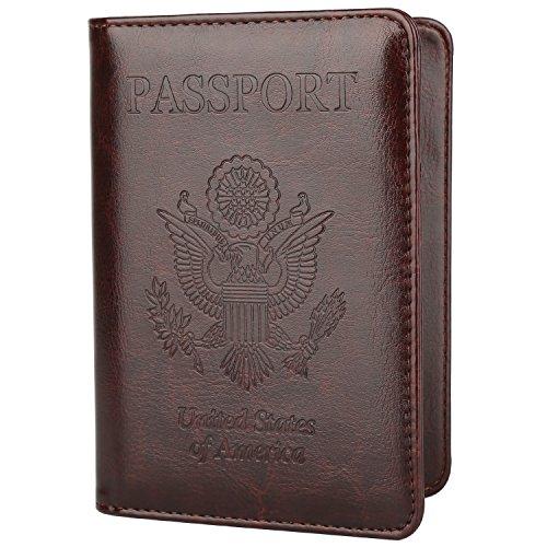 GDTK Leather Passport Holder Cover Case RFID Blocking Travel Wallet (Coffee)