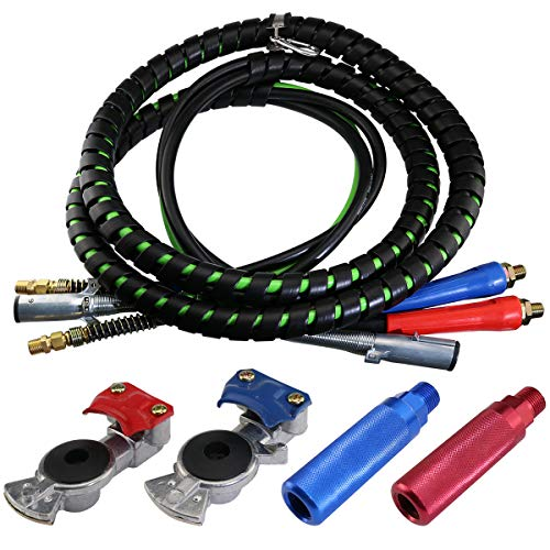 boeray 3 in 1 15 Ft Length Wrap Heavy Duty 7 Way Truck Tractor Trailer Rig Electric Cable Wrap Cord ABS & Air Line Hose Assembly with Aluminum Emergency Universal Glad Hands and Anodized Glad Handle