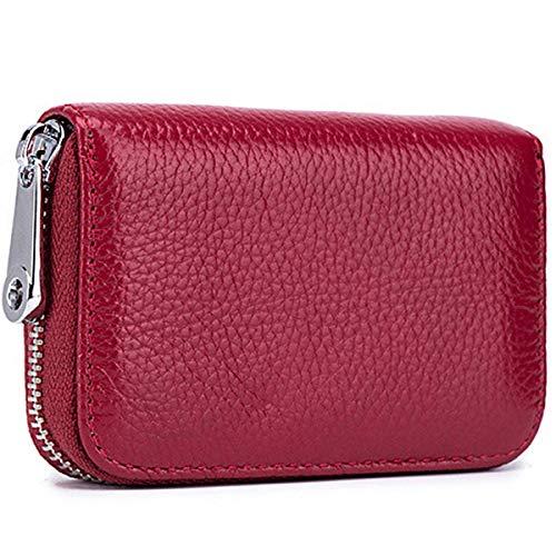 Tarjeteros para Tarjetas de Credito, RFID Wallet Pasaporte, Piel Auténtica, Titular de la Monederos con Cremallera-Meowoo(Rojo Vino 1pc)