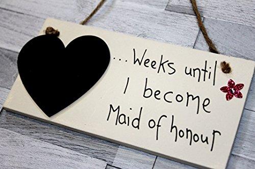 Coraz/ón de madera signo de boda cuenta atr/ás Pizarra congiorni a hasta cuando no haya
