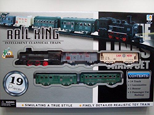RAIL King Toy Train SET BINARI carrozze Luce Motore In Scatola Ragazzi Bambini Batteria