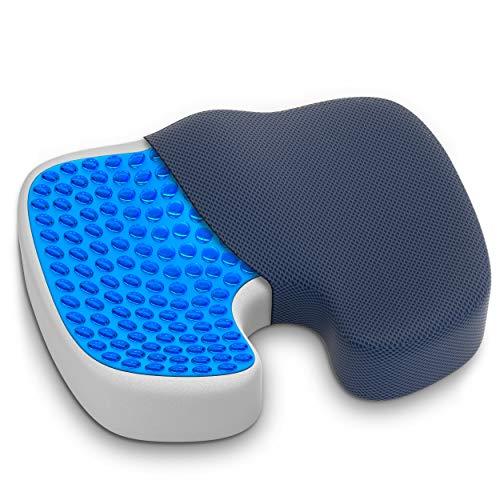 GRASSVERY Gel Pressure Relief Enhanced Office Chair Seat Cushion  Memory Foam Coccyx Cushion for Office Chair Car Desk Wheelchair – Contoured Orthopedic Memory Foam Pain Relief Chair Pad Black