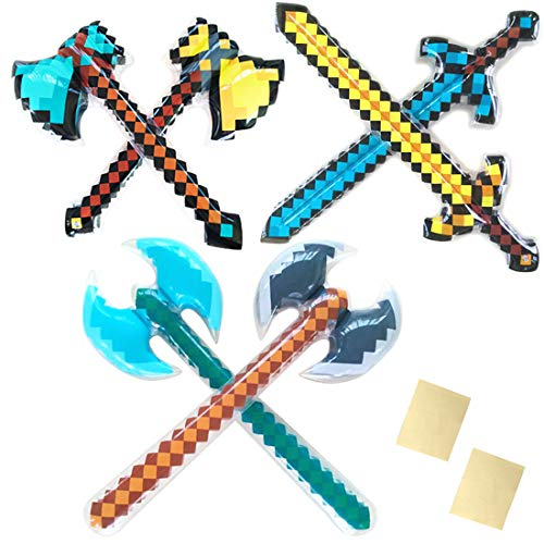 Inflatable Pretend Play Pirate Mine Pixel Craft Swords Axe for Boys Halloween Party Supplies Set of 6 with 2 Repair Patch