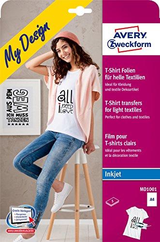 AVERY Zweckform MD1001 5 Textilfolien (für helle Textilien, DIN A4, bedruckbare T-Shirt Folie zum Aufbügeln, Transferfolie für Inkjet-/Tintenstrahldrucker, Bügelfolie)
