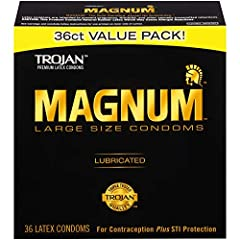 One 36 count box of TROJAN MAGNUM Large Size Condoms MAGNUM condoms are larger than the standard condom with a tapered base that stays securely in place - The Gold Standard in comfort and protection Designed with a special reservoir end for extra saf...