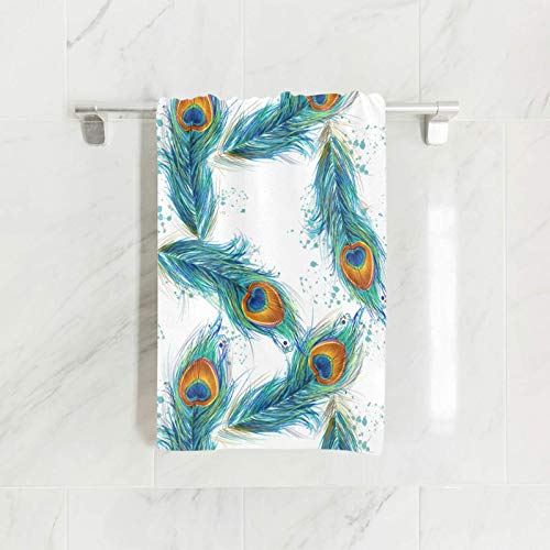 SUABO Peacock Feather Hand Towel Dish Towels Cotton Face Towel 30x15 inch Gym Yoga Towels for Bath Decor