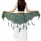 Belly Dance Hip Scarf - Hip Skirt Belly Dancing Belt Triangle Shawl Tassel Belts Waist Chain for Women/Girls(Dark Green)