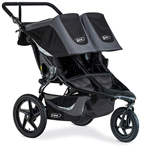 BOB Revolution Flex 3.0 Duallie Jogging Stroller - Up to 100 Pounds - UPF 50+ Canopy - Adjustable Handlebar - Easy Fold, Graphite Black