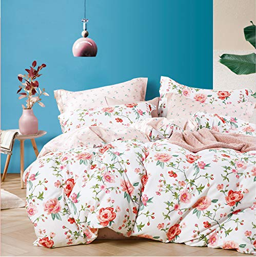 Rose Duvet Cover Queen, 100% Soft Cotton 3 pcs Set Girls Floral Bedding Set, Cute Bright Fresh Reversible Flowers Patterned Plant Leaf Print, with Zipper Closure, Breathable (No Comforter)