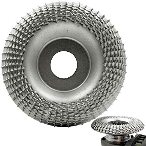 Winbyoan Wood Carving Disc Grinder Shaping Disc 7/8 Inch Bore Wood Tungsten Carbide Grinding Wheel Carving Abrasive Disc for Sanding Carving Shaping (100mm, Arc Type, Silver)