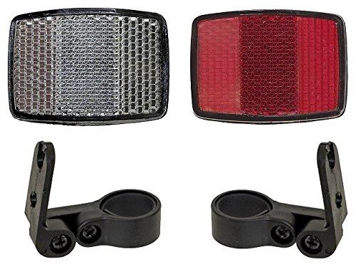 Fahrrad Reflektorenset Weiss und Rot für vorne und hinten mit Haltern