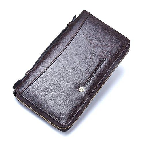 Contatti Uomini In Pelle Cerniera Carta Passaporto Tasca Bill Portafoglio Moneta Borsa Telefono