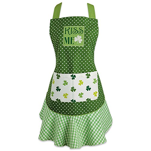 DII St. Patrick's Day Cotton Apron with Pocket and Extra Long Ties, Kiss Me