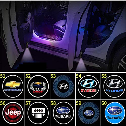 4PCS Universal Wireless Logo Projektion Licht ,Wireless Car Door Einstiegsbeleuchtung Projektor Auto Logo Türbeleuchtung Willkommen Lichter LED Auto Embleme Door Courtesy Light,HD Spotlight,51