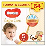 Huggies Extra Care Grande Taglia 5 (12-17 Kg), 2 Confezioni da 32 Pannolini, 2490 Gr