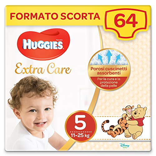 Huggies Extra Care Grande Taglia 5 (11-25 Kg), 2 Confezioni da 32 Pannolini, 2490 G