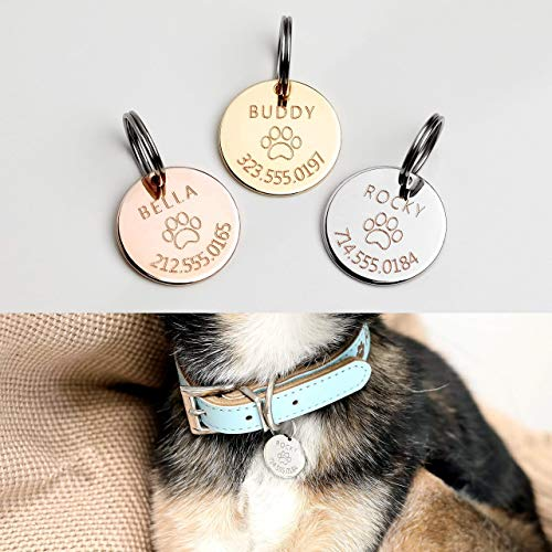Personalized Dog Tag Pet Collar Tag Dog ID Tag Cat Collar New Dog Gift Identification Tag Gift for Her Him - LCT