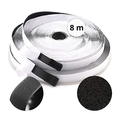 Adhesivo de 8 m x 20 mm, fácil de cortar cualquier instalación, 2 rollos de 8 m de gancho + 8 m de hebilla) equivalente a un juego