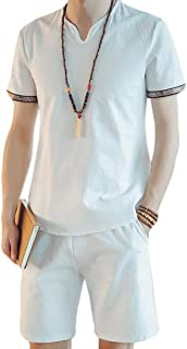 Men's Linen Summer Beach Set Short Sleeve Shirt Short Pants 2 Pieces Outfits