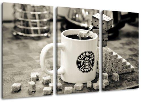 Starbucks Tasse 3-teilig auf Leinwand- Gesamtformat: 120x80 cm fertig gerahmte Kunstdruckbilder als Wandbild - Billiger als Ölbild oder Gemälde - KEIN Poster oder Plakat