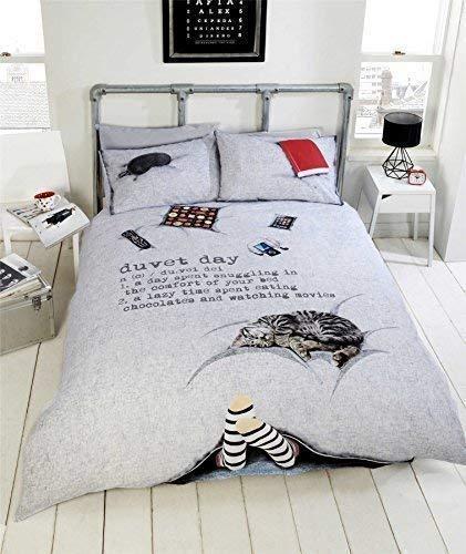 CHAT CHOCOLAT pieds Lazy JOUR GRIS NOIR ROUGE Housse de couette King-Size 230x220cm