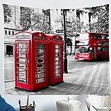 Cortinas de ventana de ciudades europeas, color rojo, cortina de autobús para niños, dormitorio, elegantes cortinas románticas de la ventana de la ciudad, 2 paneles, 46 x 45 l