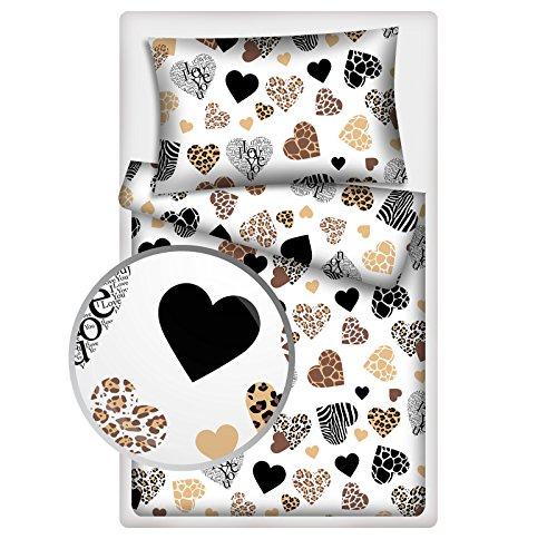 KiGATEX Bettwäsche/Kinderbettwäsche in vielen Desings 135 x 200 cm 100% Baumwolle (Herzen karamel)