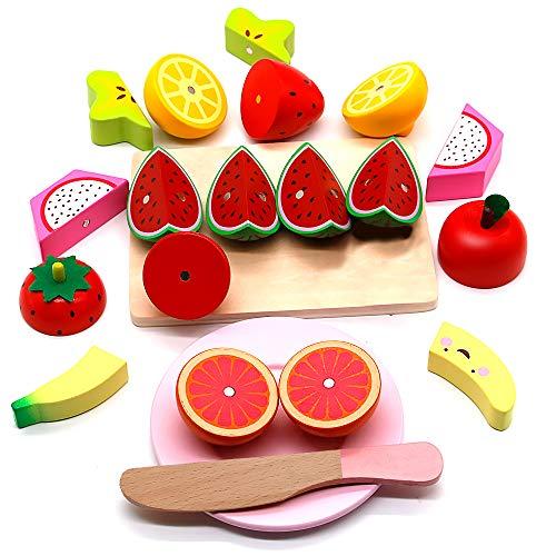 Nuheby 21 Pezzi Frutta Verdura Cucina Giocattolo per Bambini Legno Frutta da Tagliare Cibo Kit Cucina Frutta Finta Giocattolo Regalo Gioco Educativo Bambino 3 4 5 Anni