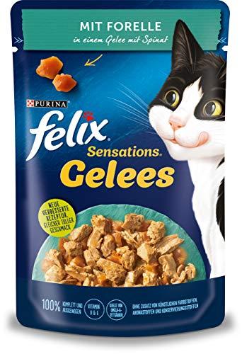 FELIX Katzennassfutter Sensations Gelees mit Forelle und Spinat 24 x 85 g