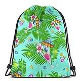 Playa de verano con hojas de palma y cohas, bolsa de cordón, ligera, gimnasio, deporte, bapa para viajes, playa, yoga